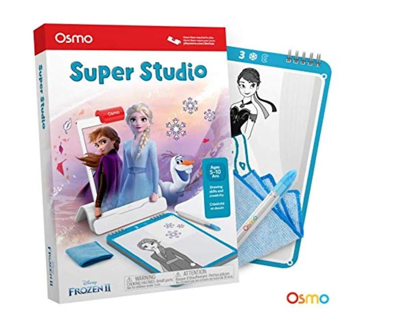 "If you already have an iPad, this Osmo ""Frozen 2"" app will keep kids entertained for ages and barely has any stuff - just a sketchpad, marker, and sweeper. Get it at <a href=""https://www.amazon.ca/Osmo-Studio-Disney-Frozen-Favorites/dp/B07PY4QTN9/ref=asc_df_B07PY4QTN9/?tag=googleshopc0c-20&amp;linkCode=df0&amp;hvadid=336021905192&amp;hvpos=1o2&amp;hvnetw=g&amp;hvrand=6137482898722074982&amp;hvpone=&amp;hvptwo=&amp;hvqmt=&amp;hvdev=c&amp;hvdvcmdl=&amp;hvlocint=&amp;hvlocphy=9000680&amp;hvtargid=pla-880077717727&amp;psc=1"" target=""_blank"" rel=""noopener noreferrer"">Amazon</a> for $17.49."