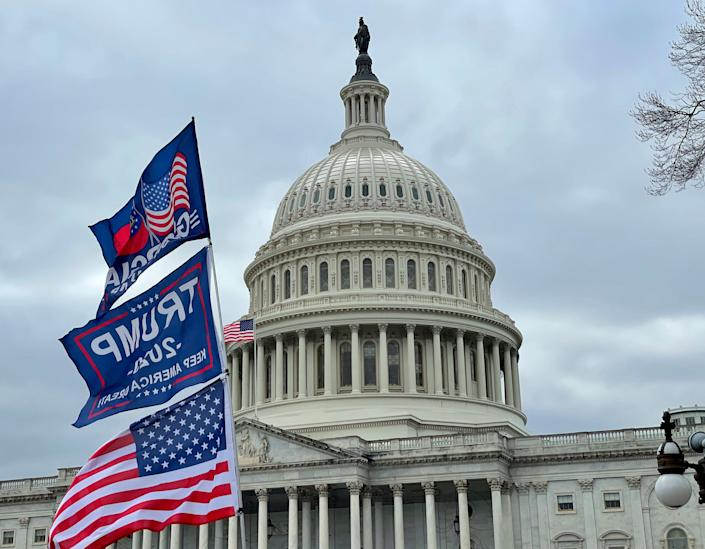 Only 7% of Republicans now say the actions of Donald Trump supporters who invaded the Capitol last week were mostly right, down from 22% who said the same in an earlier HuffPost/YouGov poll. (Photo: zz/STRF/STAR MAX/IPx)