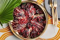 "This dish wins on color alone. Sweet <a href=""https://www.epicurious.com/ingredients/best-beet-recipes-salad-pickle-sandwich-gallery?mbid=synd_yahoo_rss"" rel=""nofollow noopener"" target=""_blank"" data-ylk=""slk:beets"" class=""link rapid-noclick-resp"">beets</a> pair perfectly with bitter radicchio. Here, we roast the beets until they're charred, then partner them with seared radicchio wedges and tangy pomegranate. <a href=""https://www.epicurious.com/recipes/food/views/seared-radicchio-and-roasted-beets-with-pomegranate?mbid=synd_yahoo_rss"" rel=""nofollow noopener"" target=""_blank"" data-ylk=""slk:See recipe."" class=""link rapid-noclick-resp"">See recipe.</a>"
