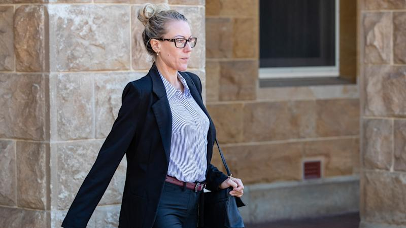 Tracey Bridgewater (39) who is charged with manslaughter over the death of her partner at their Hamilton Hill home in September 2018 leaves the Stirling Gardens Magistrates Court in Perth on January 30, 2019.