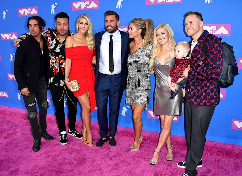 From right, Spencer Pratt and Heidi Montag Pratt with son Gunner, Audrina Patridge, Jason Wahler, an unidentified woman, Frankie Delgado, and Justin