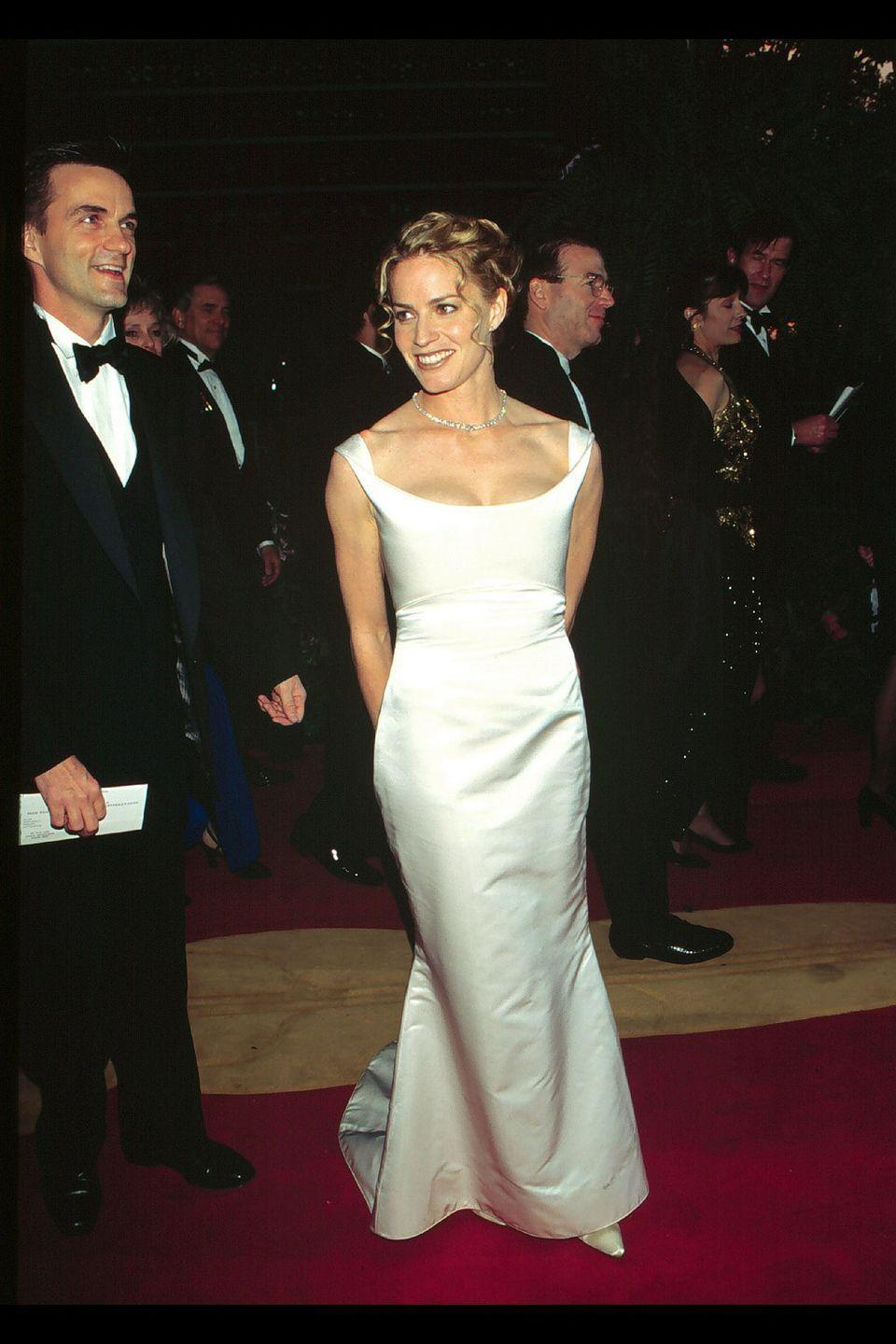 <p>This Best Actress nominee dazzled in a sultry white column and accessorized with a diamond necklace on the red carpet. </p>
