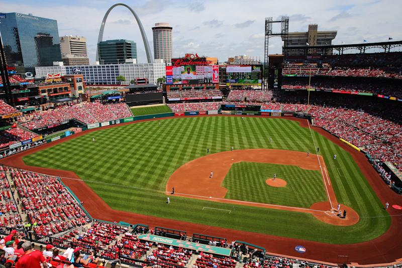 ST. LOUIS, MO - MAY 20: A general view of Busch Stadium during a game between the Philadelphia Phillies and the St. Louis Cardinals on Sunday, May, 20 2018 in St. Louis, Missouri. (Photo by Dilip Vishwanat/MLB via Getty Images)
