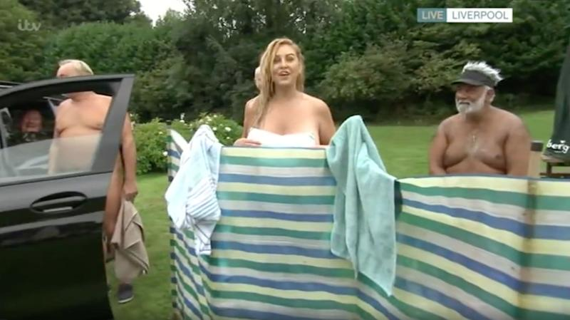 This Morning visiting a nudist camp was always going to be a recipe for disaster, wasn't it? (Photo: ITV)
