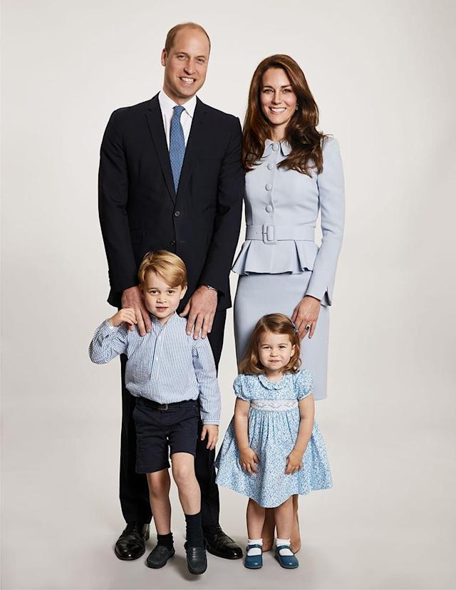 <p>It's here! Kensington Palace released the royal family's annual holiday card — and they are a vision in blue! The Duke and Duchess of Cambridge, who will welcome their third child in April, posed with their two cuties, Prince George and Princess Charlotte, in the shot taken by photographer Chris Jackson, at Kensington Palace. We already can't wait for next year's card, when they are a party of five. (Photo: Chris Jackson/Kensington Palace/Getty Images)<br><br></p>