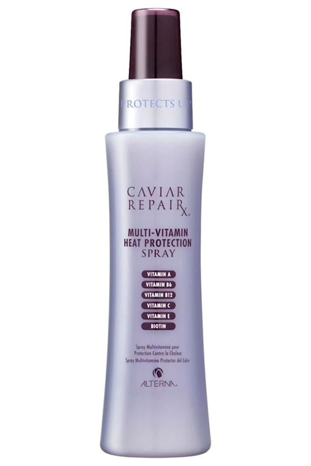 """<p><strong>Best for: Suuuper damaged, colour-treated hair</strong></p><p>If you've jumped on the bleach-blonde hair hype, Alterna's Caviar Repair Multi Vitamin Heat Protection Spray will give your locks a new lease of life. Yup, as the name suggests, the fomrula is packed with vitamins that nourish and repair damaged lengths. </p><p>As someone who's been having blonde highlights for years, take it from me, this mist will bring your straw-like hair back from the brink. </p><p><strong>Price: </strong>£29.50</p><p><a rel=""""nofollow"""" href=""""https://www.fragrancedirect.co.uk/alterna-caviar-repair-rx-multi-vitamin-heat-protection-125ml-0071759.html"""">buy now</a><br></p>"""