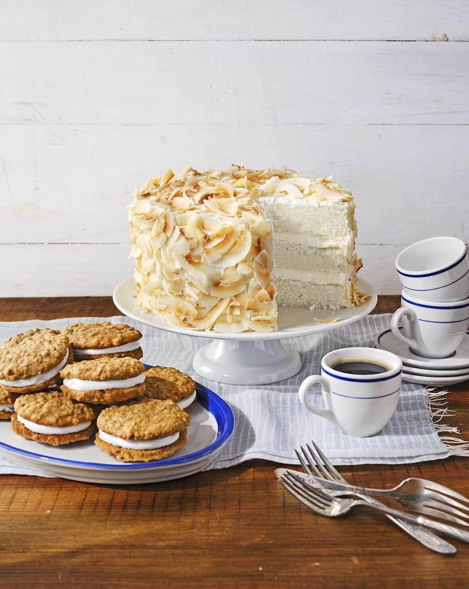 "<p>Treat mom like the angel she is with this elegant showstopper. Layers of light, airy cake are interspersed with silky cream cheese frosting.</p><p><strong><a href=""https://www.countryliving.com/food-drinks/a30418948/coconut-angel-cake-recipe/"" rel=""nofollow noopener"" target=""_blank"" data-ylk=""slk:Get the recipe"" class=""link rapid-noclick-resp"">Get the recipe</a>.</strong></p><p><strong><a class=""link rapid-noclick-resp"" href=""https://www.amazon.com/AmazonBasics-Nonstick-Carbon-Steel-Cake/dp/B073P4H7J7/?tag=syn-yahoo-20&ascsubtag=%5Bartid%7C10050.g.4238%5Bsrc%7Cyahoo-us"" rel=""nofollow noopener"" target=""_blank"" data-ylk=""slk:SHOP CAKE PANS"">SHOP CAKE PANS</a></strong></p>"