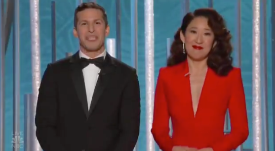 During their opening segment, Golden Globes hosts Andy Samberg and Sandra Oh asked Jim to kindly change seats. Photo: NBC