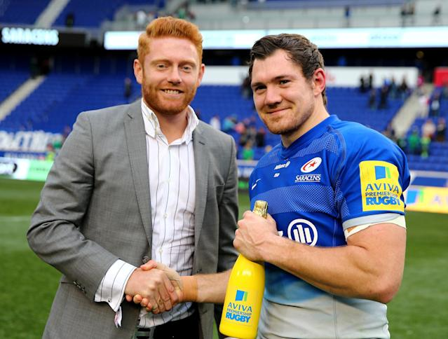 HARRISON, NJ - MARCH 12: Alex Goode #15 of Saracens is awarded the player of the match during the Aviva Premiership match on March 12, 2016 at Red Bull Arena in Harrison, New Jersey. (Photo by Elsa/Getty Images)