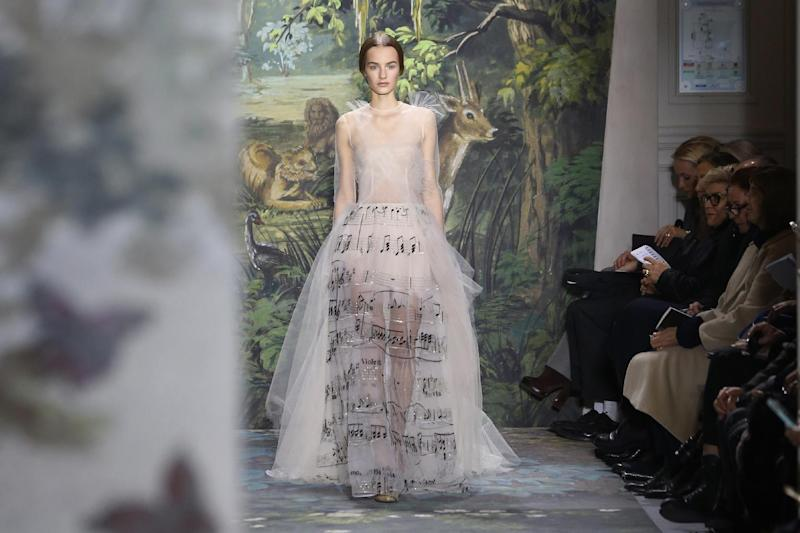 A model presents a creation as part of the Valentino Spring-Summer 2014 Haute Couture fashion collection, presented Wednesday, Jan. 22, 2014 in Paris. (AP Photo/Jacques Brinon)