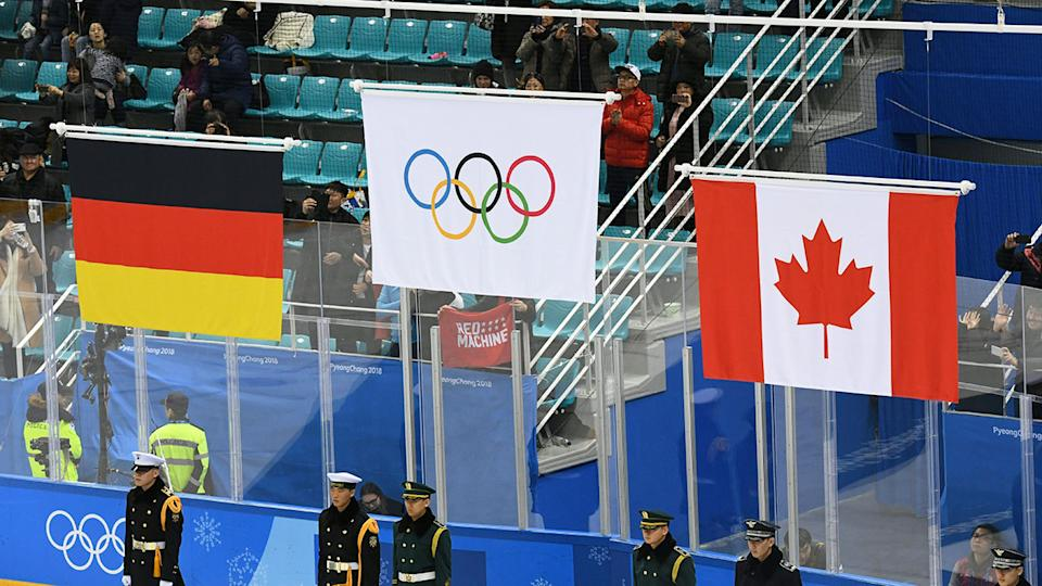 An Olympic flag is seen here in place of the Russian flag at the 2018 PyeongChang Winter Olympics.