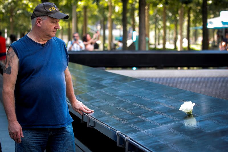 Tom Canavan, who worked inside 1 World Trade Center on 9/11, gives interview in New York City