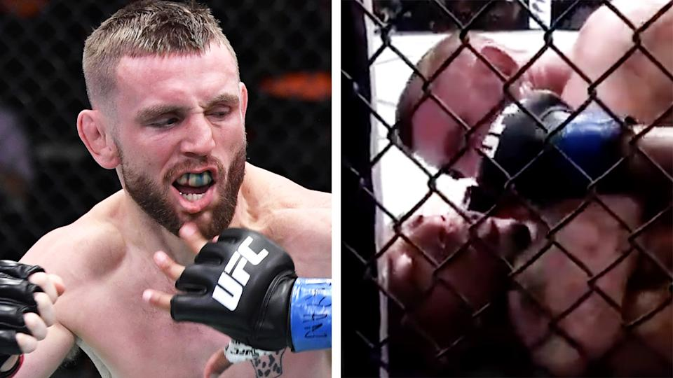 UFC fighter Tim Elliott was caught on microphones accusing his opponent of being a 'woman beater' during their bout at UFC 259 in Las Vegas. Pictures: Getty Images/Twitter