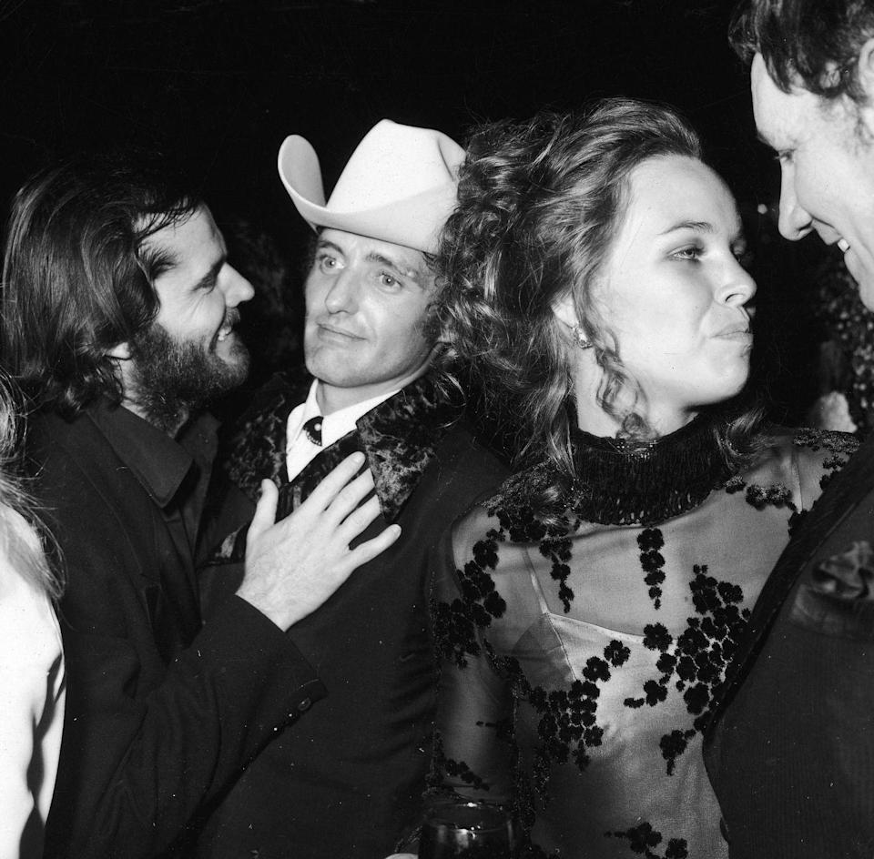 <p>Jack Nicholson pals around with fellow Academy Award nominee, Dennis Hopper, as the two attend the 1970 Oscar Ball, an after-party for the Academy Awards. The actors were both nominated for their film, <em>Easy Rider</em>, which served as Nicholson's breakout role. </p>