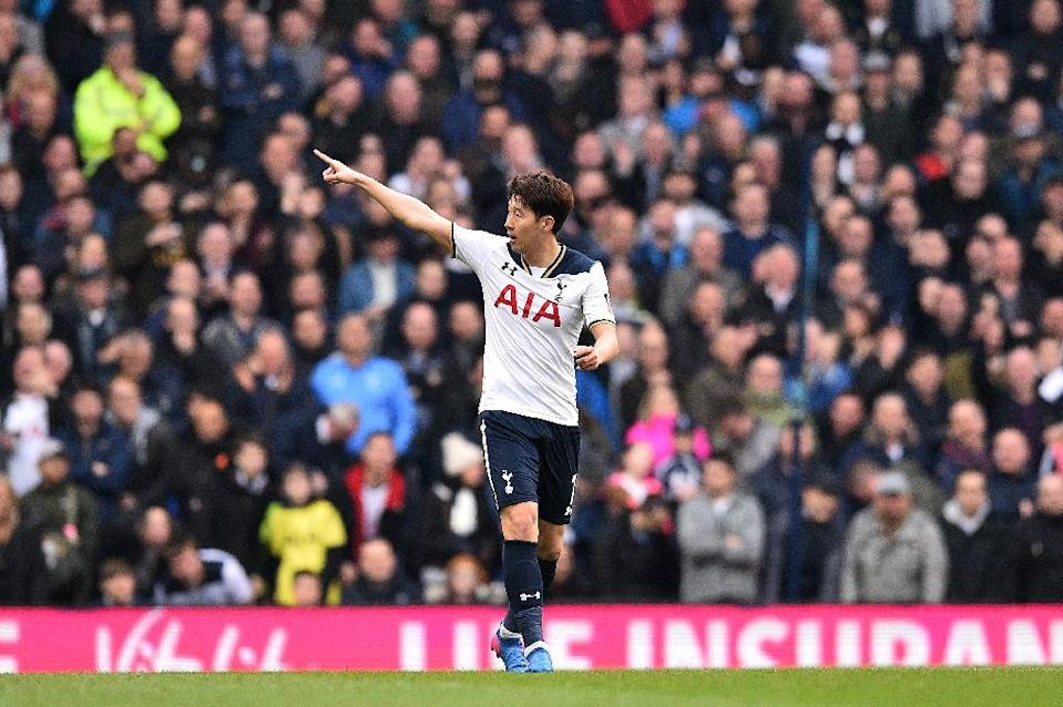 In the absence of Harry Kane Tottenham Hotspur's Son Heung-Min (pictured) and Vincent Janssen are vying to start up front as Spurs try to close the gap on Chelsea (AFP Photo/Glyn KIRK )