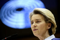European Commission President Ursula von der Leyen speaks during a debate on the united EU approach to COVID-19 vaccinations at the European Parliament in Brussels, Wednesday, Feb. 10, 2021. (Johanna Geron, Pool via AP)