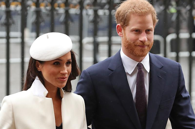 Markle's beret is certainly a statement piece.  (DANIEL LEAL-OLIVAS via Getty Images)