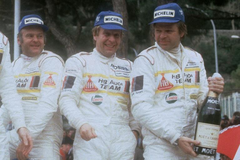 Hannu Mikkola (centre) at the 1984 Monte Carlo Rally