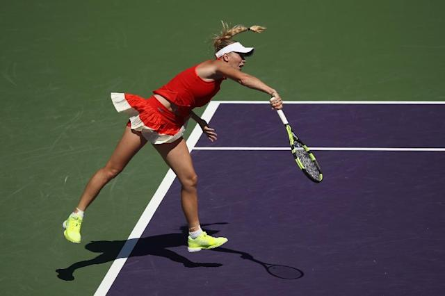Caroline Wozniacki of Denmark, seen in action during her Miami Open semi-final match against Karolina Pliskova of Czech Republic, at Crandon Park Tennis Center in Key Biscayne, on March 30, 2017 (AFP Photo/Julian Finney)