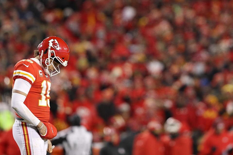 Patrick Mahomes was forced to watch Tom Brady dissect a tired Chiefs defense in OT without being provided the opportunity to return the favor. (Getty)