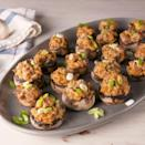 """<p>If you are looking for an easy appetiser, sausage stuffed mushrooms are the perfect thing. They come together in less than hour and everyone loves the cheesy filling. For easy prep, stuff the mushrooms beforehand and bake off right before you plan to serve them. So simple! </p><p>Get the <a href=""""https://www.delish.com/uk/cooking/recipes/a34516636/sausage-stuffed-mushrooms-recipe/"""" rel=""""nofollow noopener"""" target=""""_blank"""" data-ylk=""""slk:Sausage Stuffed Mushrooms"""" class=""""link rapid-noclick-resp"""">Sausage Stuffed Mushrooms</a> recipe.</p>"""