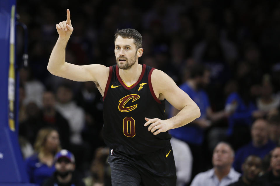 Cleveland Cavaliers' Kevin Love reacts after scoring a basket during the first half of an NBA basketball game against the Philadelphia 76ers, Saturday, Dec. 7, 2019, in Philadelphia. (AP Photo/Matt Slocum)