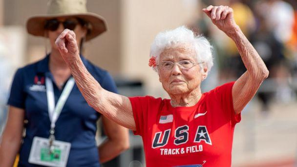 PHOTO: Julia Hawkins celebrates her win at the 50-meter race at the 2019 National Senior Games in Albuquerque, New Mexico. (Brit Huckabay/NSGA)