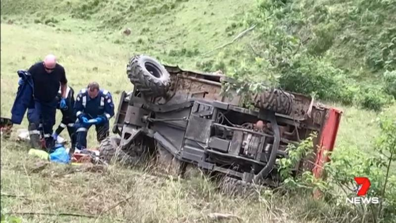 Natalie Ritter suffered a badly broken leg and had muscle torn away when she became trapped under the buggy on her family's farm. Source: 7 News