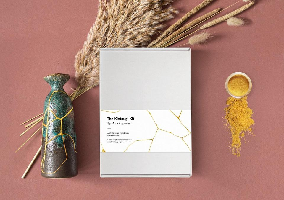 """<h2>Mora Approved Kintsugi Repair Kit</h2><br>Kintsugi is the traditional Japanese technique of repairing broken ceramics by using a visible adhesive to enhance the imperfections of the piece. Help your mom get through her hoard of """"I'll fix it someday"""" pottery with this easy-to-use repair kit — it includes instructions, blue & gold mixing powder, a brush, sticks for blending, and gloves. <br><br><em>Shop <strong><a href=""""https://www.etsy.com/shop/MoraApproved"""" rel=""""nofollow noopener"""" target=""""_blank"""" data-ylk=""""slk:Mora Approved"""" class=""""link rapid-noclick-resp"""">Mora Approved</a></strong> on Etsy</em><br><br><strong>Mora Approved</strong> Kintsugi Repair Kit, $, available at <a href=""""https://go.skimresources.com/?id=30283X879131&url=https%3A%2F%2Fwww.etsy.com%2Flisting%2F843788382%2Fdiy-kintsugi-kit-kintsugi-repair-kit"""" rel=""""nofollow noopener"""" target=""""_blank"""" data-ylk=""""slk:Etsy"""" class=""""link rapid-noclick-resp"""">Etsy</a>"""