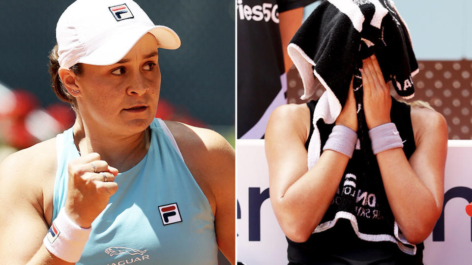 Ash Barty, pictured here in action against Paula Badosa at the Madrid Open.