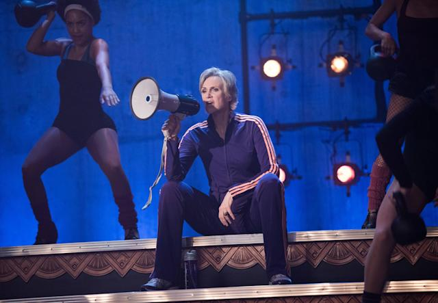 Sue Sylvester (Jane Lynch) played the fearsome cheerleading coach in <em>Glee</em>. In the series finale, she's revealed to have become the vice president in 2020. (Courtesy: Everett Collection)
