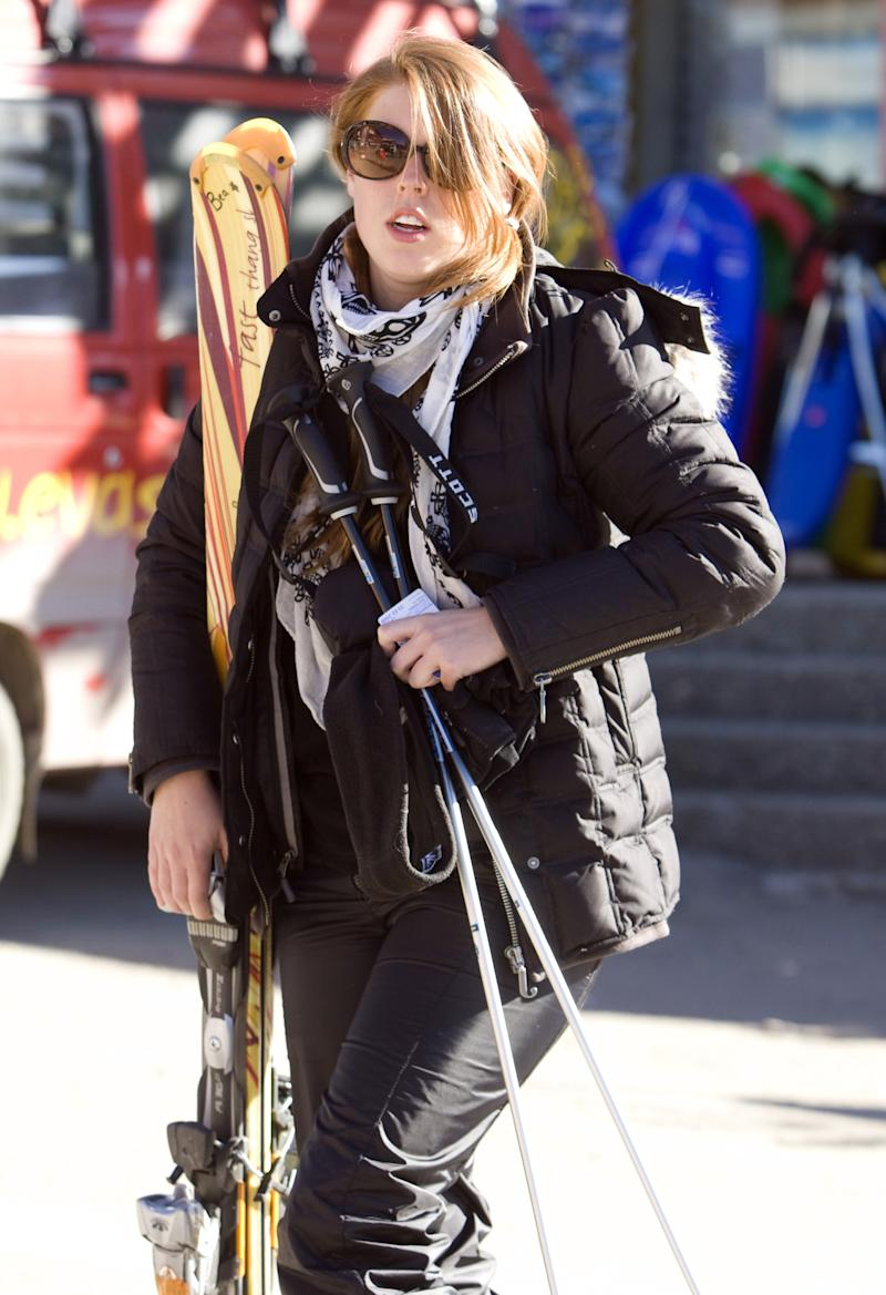Princess Beatrice During A Skiing Holiday To Verbier In Switzerland. (Photo by Julian Parker/UK Press via Getty Images)