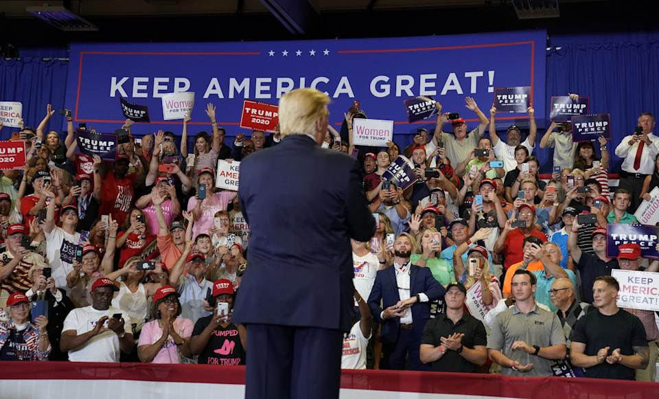 U.S. President Donald Trump holds a campaign rally in Fayetteville, North Carolina, U.S., September 9, 2019. (Photo: Kevin Lamarque/Reuters)
