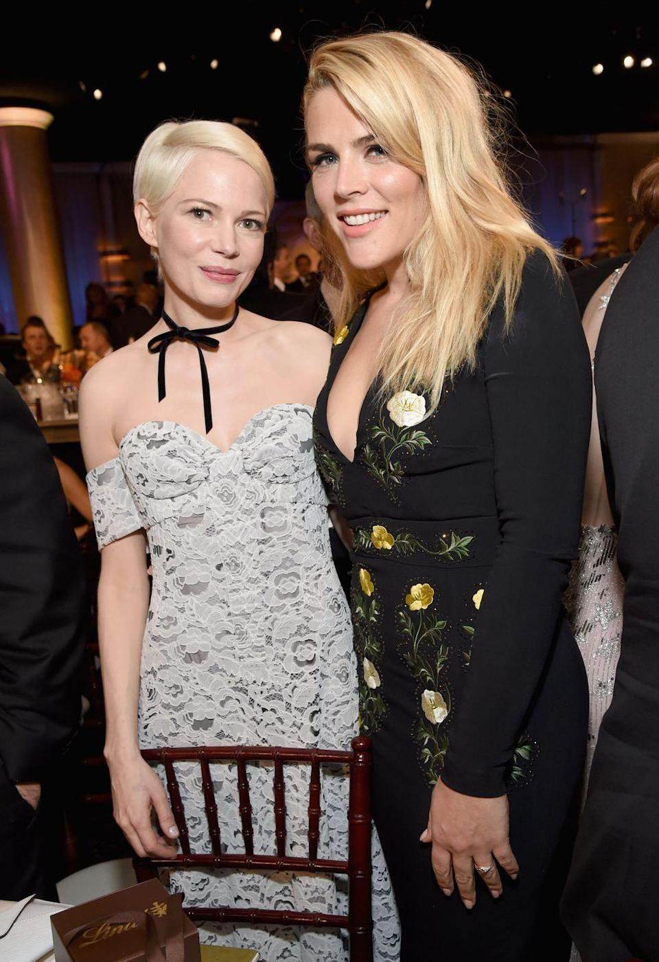 """<p>""""It's important to have strong, supportive women in your life whatever you do. I'm glad I can be there for her and she's always there for me."""" — Busy Philipps, <em><a href=""""https://www.youtube.com/watch?v=0HL2fn-e72A"""" rel=""""nofollow noopener"""" target=""""_blank"""" data-ylk=""""slk:Hollywire"""" class=""""link rapid-noclick-resp"""">Hollywire</a></em></p><p>""""I'm so in love with her. She's proof that the love of your life does not have to be a man! That's the love of my life right there."""" — Michelle Williams, <em><a href=""""https://people.com/movies/michelle-williams-busy-philipps-manchester-by-the-sea/?xid=popsugar"""" rel=""""nofollow noopener"""" target=""""_blank"""" data-ylk=""""slk:People"""" class=""""link rapid-noclick-resp"""">People</a></em></p>"""