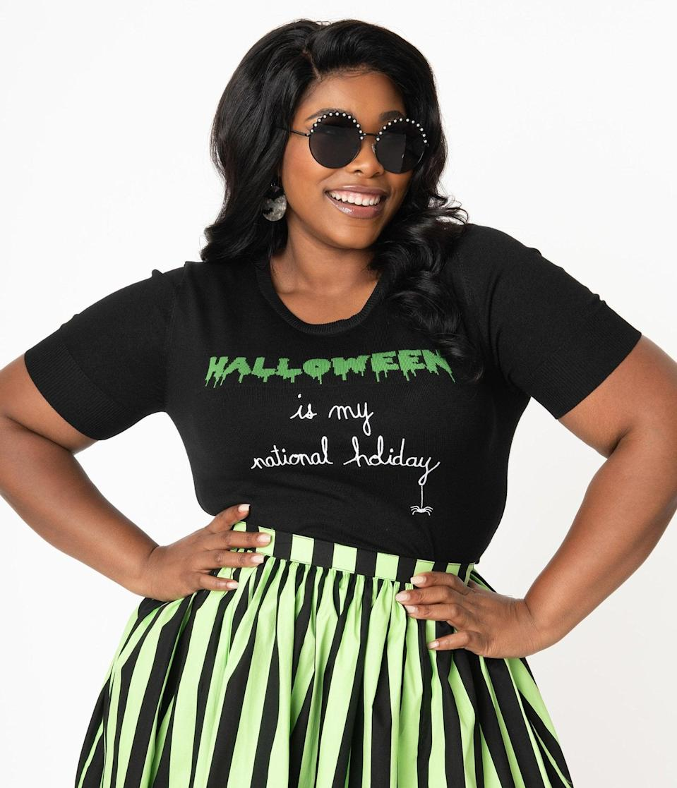 <p>Pair the <span>Hell Bunny Plus Size Halloween Forever Knit Top</span> ($64) with a cute skirt or jeans. </p>