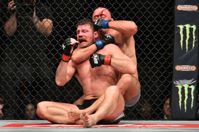 GSP chokes out Bisping at UFC 217. Pic: Getty