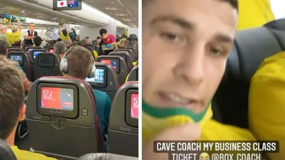 Harry Garside is seen sitting up the back of the plane after a wonderful gesture for his coach. Pic: Instagram