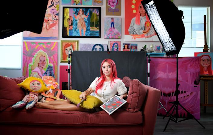 "Avalon Lafosse, 18, who has chosen to defer her enrollment at the Rhode Island School of Design for a year because of the pandemic, photographed at home in Irvine. <span class=""copyright"">(Christina House / Los Angeles Times)</span>"