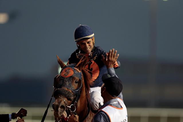 Horse Racing - Dubai World Cup 2018 - Meydan Racecourse, Dubai - United Arab Emirates - March 31, 2018 - Joel Rosario is seen on Mind Your Biscuits from the Unites States as he celebrates winning the Sixth Race. REUTERS/Christopher Pike