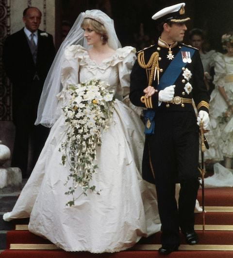 Prince Charles and Diana leaving the church after their wedding - Credit: Fox Photos