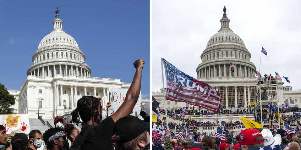 In this combination of photos, demonstrators, left, protest June 4, 2020, in front of the U.S. Capitol in Washington, over the death of George Floyd and on Jan. 6, 2021, supporters of President Donald Trump rally at same location. (AP Photos)