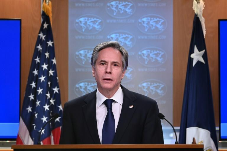 US Secretary of State Antony Blinken, seen speaking in March 2021, has announced the removal of sanctions on the International Criminal Court
