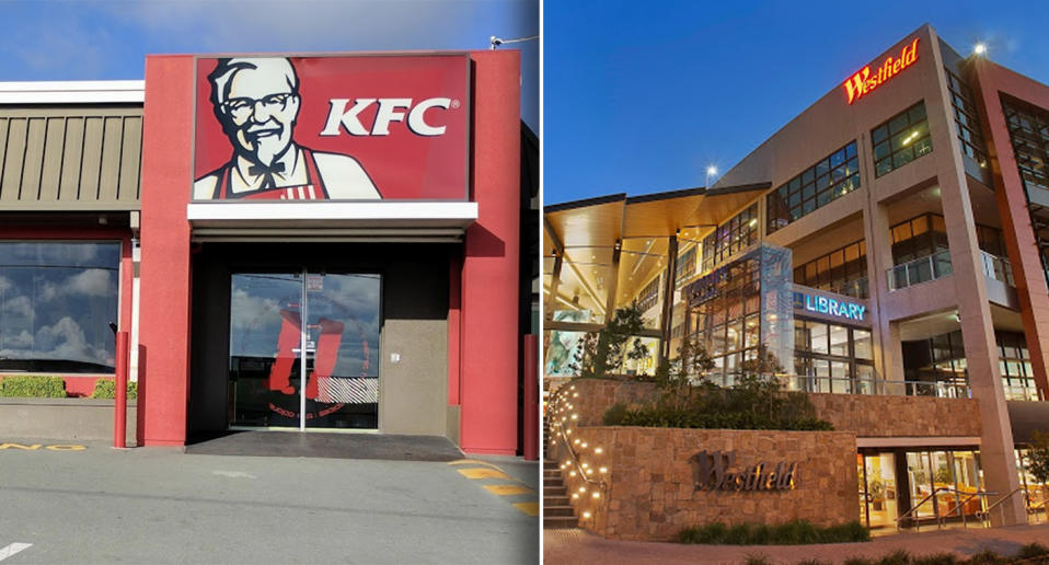 The exterior of a KFC restaurant in Stafford and the Westfield Carindale shopping centre.