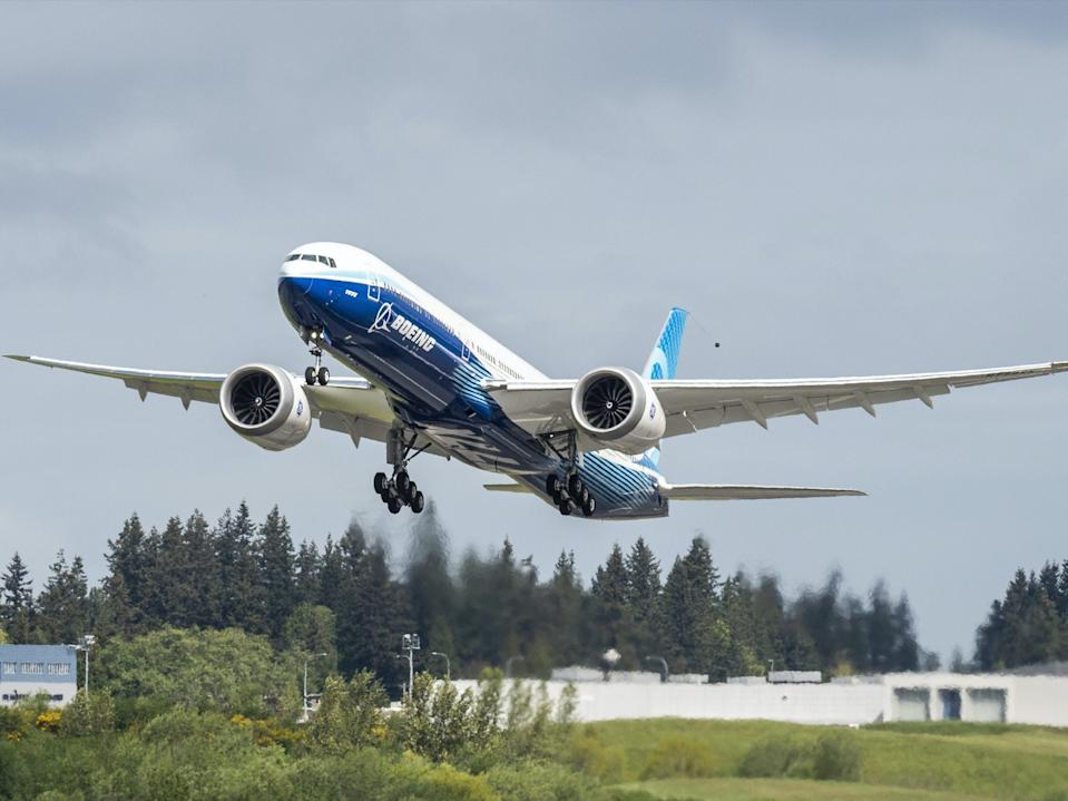 The second Boeing 777X test aircraft taking flight for the first time.