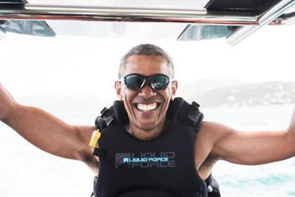 Mr Obama hanging out at the British Virgin Islands with Richard Branson