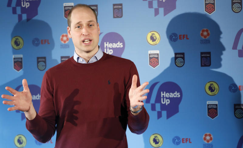 LONDON, ENGLAND - FEBRUARY 05: Prince William, Duke of Cambridge delivers a speech while launching The Heads Up Weekends on February 5, 2020 in London, England. The prince who is President of the Football Association (FA), attended a special event in London to launch The Heads Up Weekends, which will see every football team from all the leagues dedicate their matches to Heads Up, to highlight the importance of talking about mental health. (Photo by Frank Augstein - WPA Pool/Getty Images)