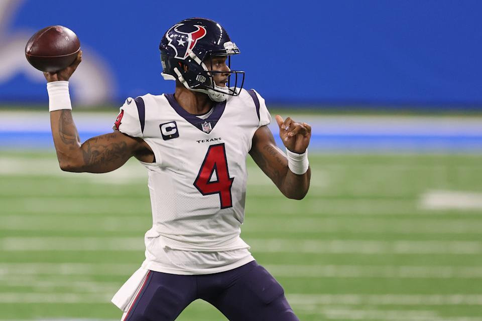 Deshaun Watson has been removed from the intro of the Texans' in-house TV show. (Photo by Gregory Shamus/Getty Images)