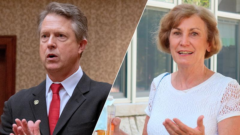 Congressman Roger Marshall (R-KS)/Barbara Bollier (Mark Reinstein/Corbis via Getty Images; John Hanna/AP Photo)