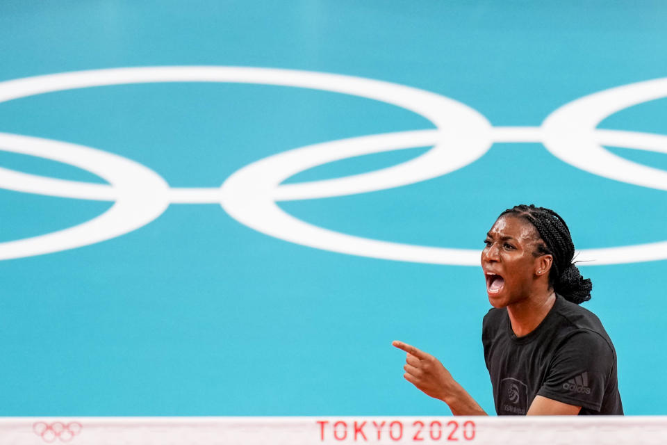United States' Foluke Akinradewo Gunderson reacts during a training session with the volleyball team at the 2020 Summer Olympics, Thursday, July 22, 2021, in Tokyo, Japan. A third trip to the Olympics was far from a sure thing for Gunderson when she gave birth to her first son in November 2019. But Gunderson had set a goal of being both a mother and professional athlete and took advantage of the delayed Olympics to make it back again this year in search of that elusive gold medal. (AP Photo/Manu Fernandez)