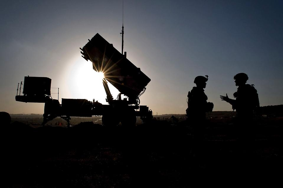 U.S. Soldiers talk after a routine inspection of a Patriot missile battery at a Turkish military base in Gaziantep, Turkey. (Photo: Department of Defense)